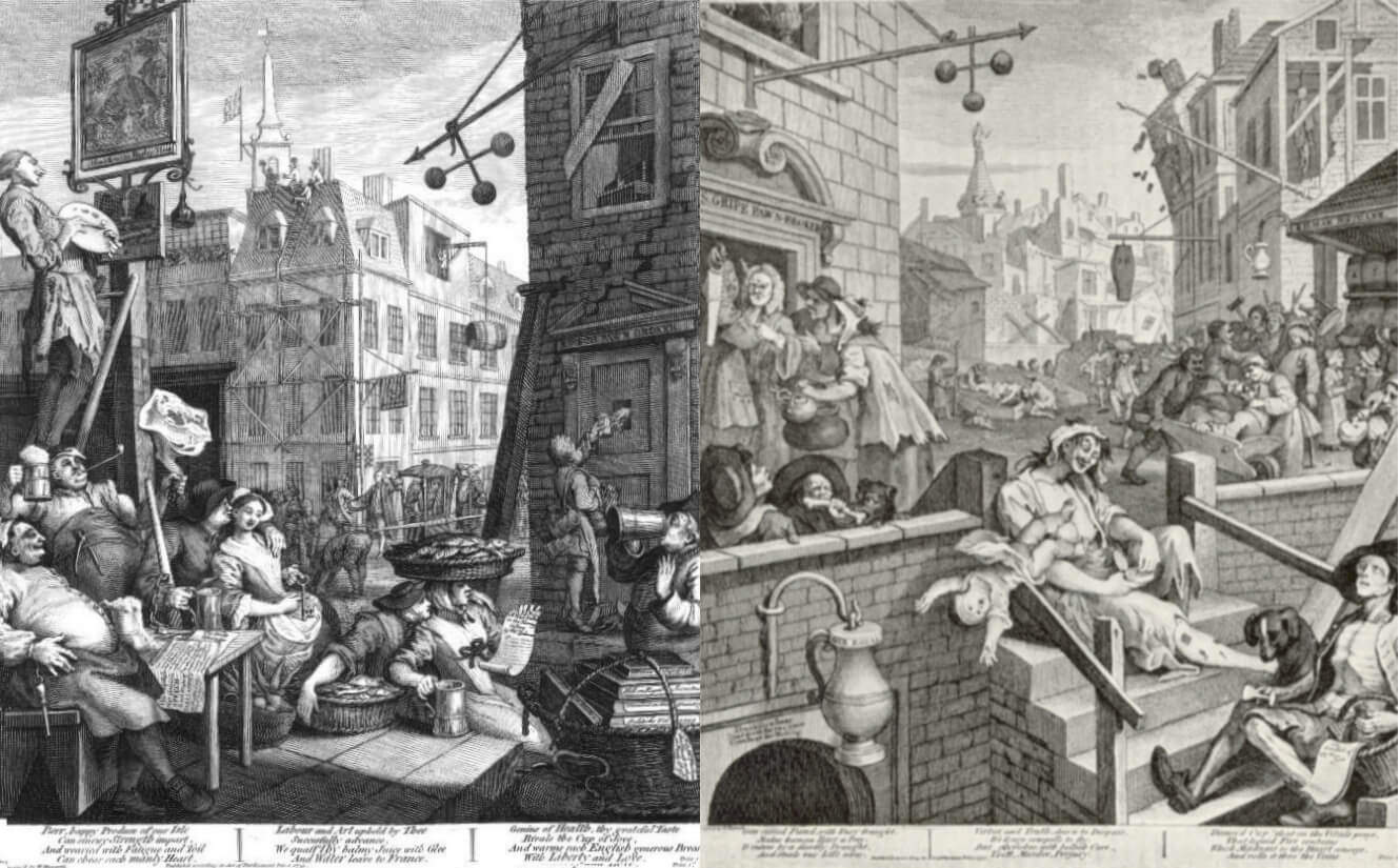 Hogarth -- Beer Street and Gin Lane (Source: Wikipedia)