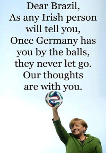 Figure 2. Angela Merkel with Ireland by the balls