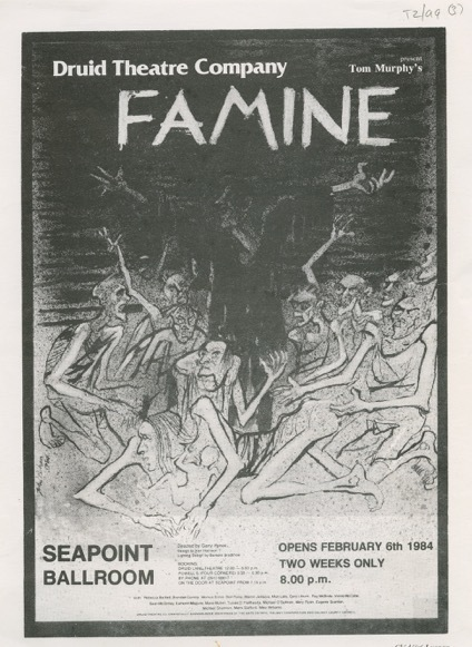 Druid production of Tom Murphy's Famine in 1984 Program/flyer.  T2/99-101, Druid Theatre Company Archive, James Hardiman Library, NUI Galway.
